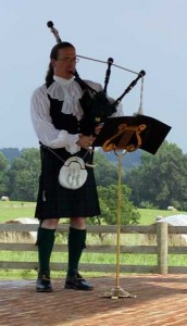 Kendall Giles playing bagpipes
